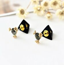 New 18K GOLD Filled Double Sided Triangle Pyramid Fashion Crystal Stud Earrings
