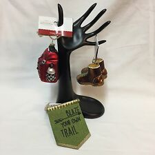 Set 3 Xmas Ornaments Glass Hiking Boots Red Backpack Blaze Your Own Trail Hiker