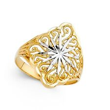 14k Yellow & White Gold Star Ring Fashion Band Filigree Diamond Cut Solid