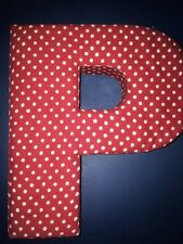 Dot Red Cream Fabric LETTER P ANTHROPOLOGIE WALL DECOR Shabby Chic Initial