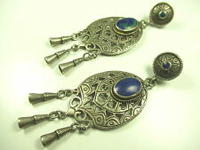 925 sterling argent Boucles d'oreilles chrysokoll vintage 70er Navajo silver earrings CC N