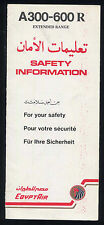 EGYPTAIR Airbus A 300 - 600 R SAFETY CARD airline memorabilia brochure ee e224