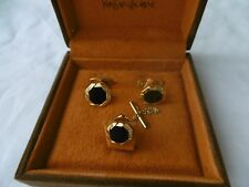 Vintage Yves Saint Laurent Men's Cuff Links and Tie Pin with Box