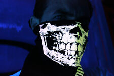 UNIQUE PEACH GLOW INTHE DARK SKULL BANDANA HALF FACE MASK RAVE BLACK LIGHT NECK