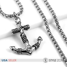 Men's Stainless Steel Gothic Vintage Rope Anchor Pendant Box Necklace Pirate P35