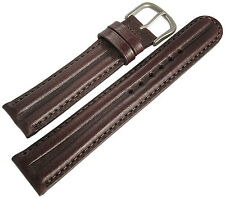 20mm Hadley-Roma MS890 Mens Brown Smooth Twin Pad Leather Watch Band Strap