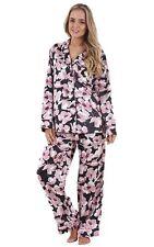 Ladies Printed Satin Pyjamas Floral Butterfly Black Womens Pink Nightwear PJ's