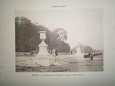 Gravure 19° 1899 couleur Peinture Zuber: Les marches de marbre rose à Versailles