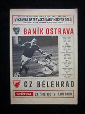 Orig.PRG    EC 1  81/82    BANIK OSTRAVA - RED STAR BELGRAD  1/8 FINALE  !!  TOP