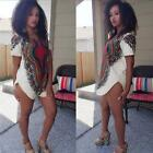 Women Hobo Loose Traditional Tribal African Dashiki Party Hippie Mini Dress