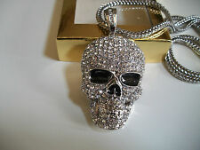 "Silver Finish Hip Hop Bling With Clear CZ Skull Pendant w/ 36"" Franco Chain"