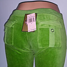 NWT $120 Juicy Couture Women M Medium Green Track Sweat Pant Velour Flare Pocket