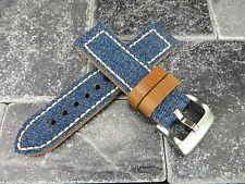22mm BIG CANVAS LEATHER STRAP BLUE JEANS Watch Band White Stitch PANERAI 22 X1