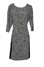 Ralph Lauren Printed Black White 3/4 Sleeves Wear to Work Office Dress Sz 14