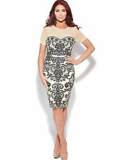 BNWT Amy Childs Paloma Lace Print Midi Bodycon Evening Occasion Dress Size 12