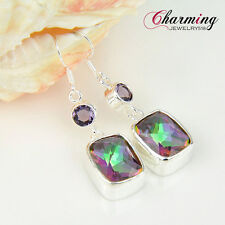 Amazing Natural Rainbow Fire Mystical Topaz Amethyst Gems Silver Women Earrings