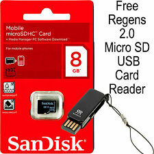 Genuine SanDisk 8GB Class 4 MicroSDHC Flash Memory Card with USB Card Reader