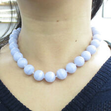 Vintage Gumps 14mm Natural Chalcedony & 14K Yellow Gold Necklace