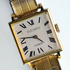 Rare Vintage Seiko 17 Jewel Gold Tone Hand Winding Ladies Watch Working Great!!!