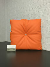 Handmade Faux Leather Swarovski Buttoned Scatter Cushion in Bright Orange