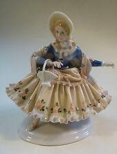 Porzellan Figur Dame mit Blumenkorb Biedermeier Ens Volkstedt Thüringen um 1930