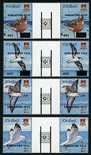 Kiribati 2015 Vögel Birds Aufdruck Singapore Zwischenstegpaare ** MNH