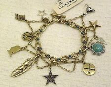 LUCKY BRAND CHARM BRACELET,  PEACE SIGN, FEATHER, TURQUOISE, STAR, FLAG, NWT $49