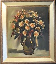 "A ROTH Signed Vintage Oil Painting on Canvas ""FLORAL VASE STILL LIFE"" FRAMED COA"