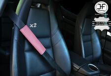 2X PINK LEATHER LUXURY SHOULDER SEAT BELT PADDED HARNESS PADS