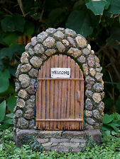 Miniature Dollhouse FAIRY GARDEN Gnome ~ Stone Look WELCOME Door ~ NEW