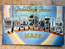 Large Letter Greetings from Worcester Ma 1955