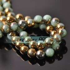 40pcs 8mm Round Crystal Glass Loose Spacer Beads Jade Green & Gold