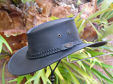 BLACK LEATHER AUSTRALIAN FOLD - UP / SQUASHABLE / SQUASHY  OUTDOOR BUSH HAT