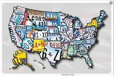 USA Licence Plates Map metal sign   305mm x 205mm   (sf)