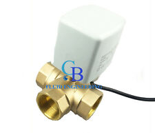 "New G1"" DN25 Brass 3 Way 220VAC Motorized Ball Valve T Type Electrical Valve"