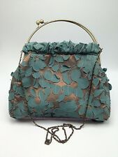 Cathayana Floral Purse Metal Chain Boho Victorian style Teal Shimmer