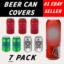 7 PACK HIDE A BEER CAN COVERS SLEEVES CAMO WRAP DISGUISE KICKBALL SPRING BREAK
