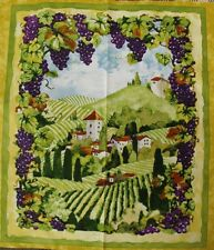 Country Quilting Cotton Sewing Fabric Panel New - Country Vineyard Wine 60x110cm