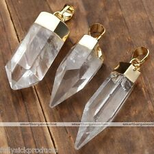 Freeform Natural Clear Rock Crystal Quartz Gemstone Pendant For Necklace Jewelry