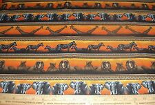 Cotton Fabric Serengeti by Fabri-Quilt Zebra Lion Elephant Giraffe oranges BTY
