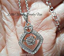 Love in Motion Diamond cut HEART Accent 925 Sterling Silver Pendant Necklace