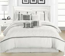Luxurious  8-Piece Embroidered White/Silver Comforter Set New.