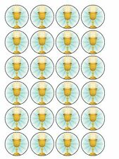"""1.5"""" FIRST HOLY COMMUNION CUPCAKE TOPPERS X30 PERSONALIZED EDIBLE ICING SHEET"""