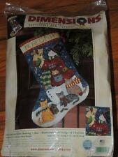 DIMENSIONS SNOWMAN AND KITTIES NEEDLEPOINT STOCKING KIT #9127 SUSAN WINGET CATS
