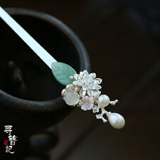 High Quality Chinese Classical Women Hairpin Hair Accessories White Jade Glass