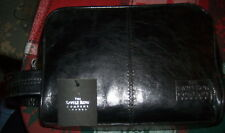 NWT SAVILLE ROW Co. Leather Top 2 Zip Framed Dop Toiletry Travel Shave Kit Black