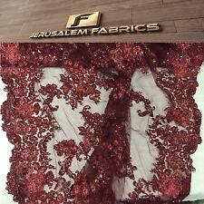 Italian Flower Design Mesh Lace Fabric Beaded Burgundy. Sold By Yard