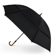 "GustBuster Doorman 68"" Black Vented Hotel Doorman Umbrella - Wooden Hook Handle"