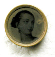 """Antique Tin Type Waistcoat Button Young Woman Image - 3/8"""""""