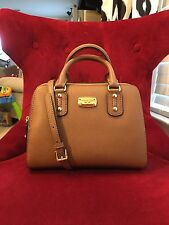 NWT MICHAEL KORS SAFFIANO LEATHER SMALL SATCHEL BAG IN LUGGAGE